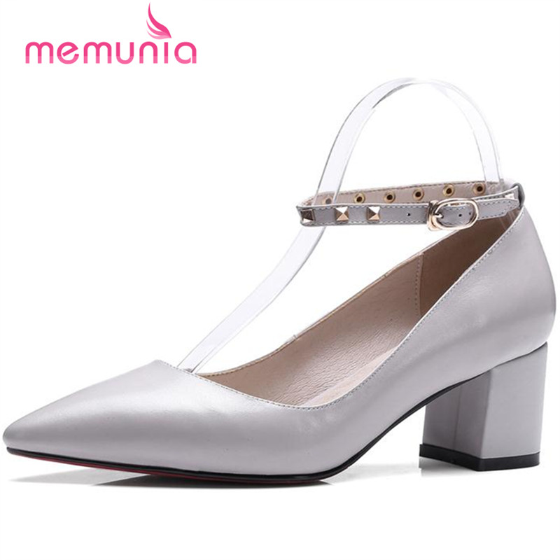 ФОТО MEMUNIA Fahsion contracted shoes women pumps party shallow buckle single high heels shoes genuine leather big size 34-40 solid