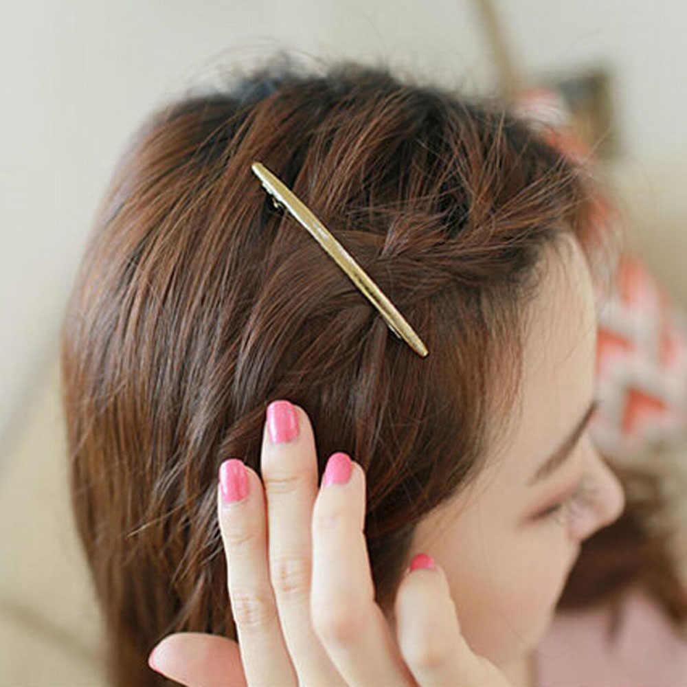 1 adet kadınlar Vintage Modis saç klipleri kızlar kristal tokalarım Metal kaplama düz ark tüp büyük saç tokası tokalar Haar Accessoires