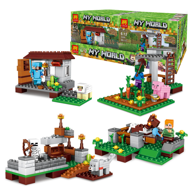 4 Sets Minecrafted 390pcs The Village Minecrafted Action Figures Building Brick Boys Toys Gift 12pcs set children kids toys gift mini figures toys little pet animal cat dog lps action figures