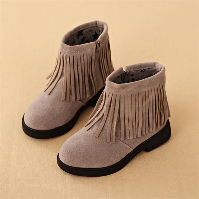 c990d3f73 Niñas botas de Negro Rojo Gris Con Flecos Zapatos de LA PU Tamaño 27 ...