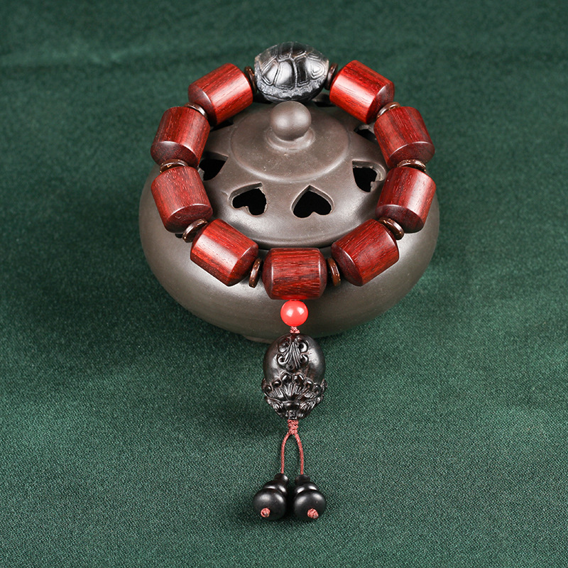 Mr Lou original lobular rojo barril de madera de sándalo cuenta alto aceite antiguo material organizar grano de rosa de Venus círculo único Cordón de cuentas - 5