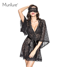 Munllure Black transparent lace lacing sleepwear nightgown romantic sexy butterfly sleeve luxury robe(China)