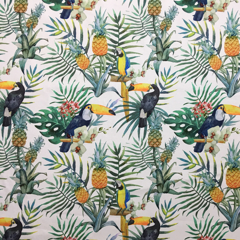 Rainforest Summer Parrot Digital Print Ramphasto Chair Upholstery - Decorative-floral-print-chairs-from-floral-art