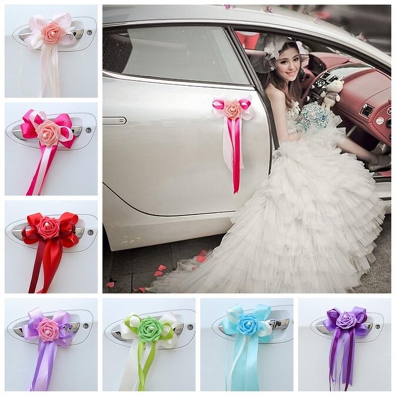 Diy Free Shipping 6pcs/Lot Wedding Car Decoration Wedding Flower 10 Colors Car Door Handles And Rearview Mirror Decoration