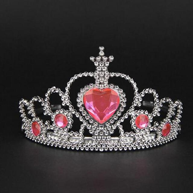 Cute Pink Fairy Birthday Plastic crowns Headband Rhinestone Heart Princess  Tiara Hairband Girls Hair Accessories Jewelry 6361d0213076