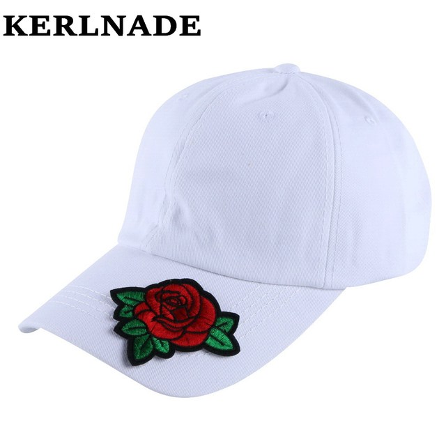c114755a7c8 women girl fashion beauty cap hat rose design floral flower colorful  baseball caps white pink black navy red snapback hats