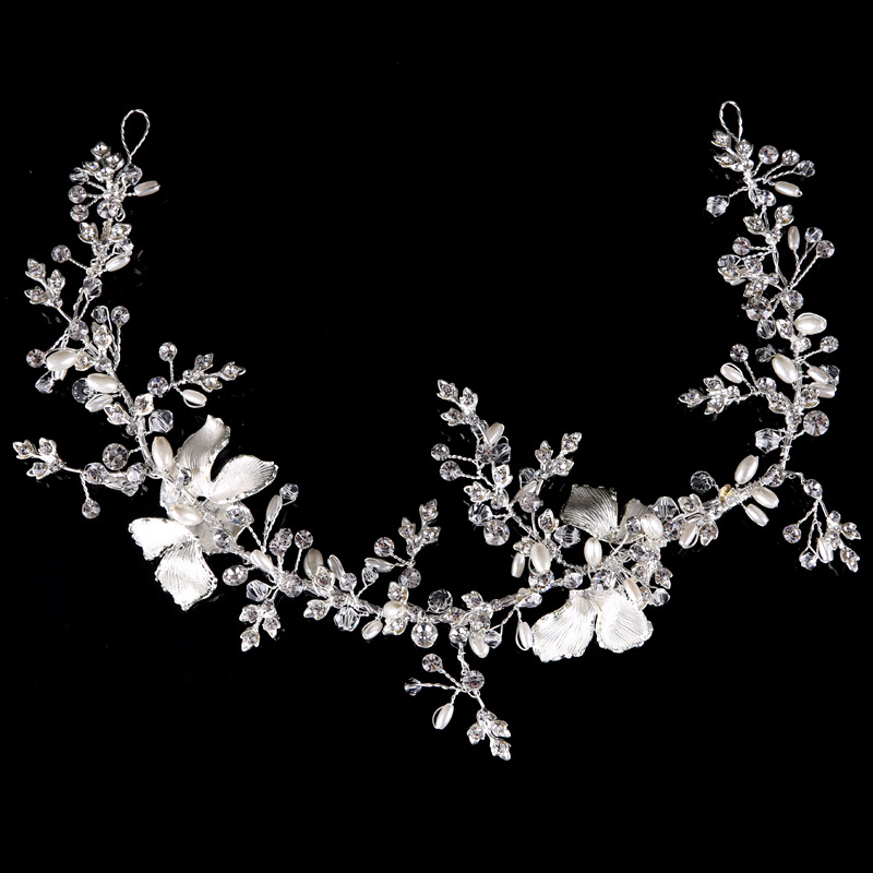 Silver Gold Boho Leaf Hair Crown Wedding Headband Rhinestone Bridal Hair Vine Accessories Women Jewelry Headpiece Luxury Gift