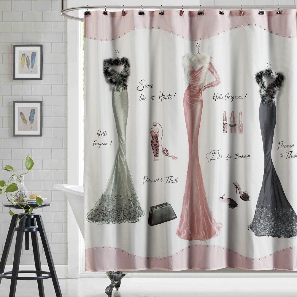 haute pink shower curtain mildew resistant print for bathroom cute bathroom curtains waterproof. Black Bedroom Furniture Sets. Home Design Ideas