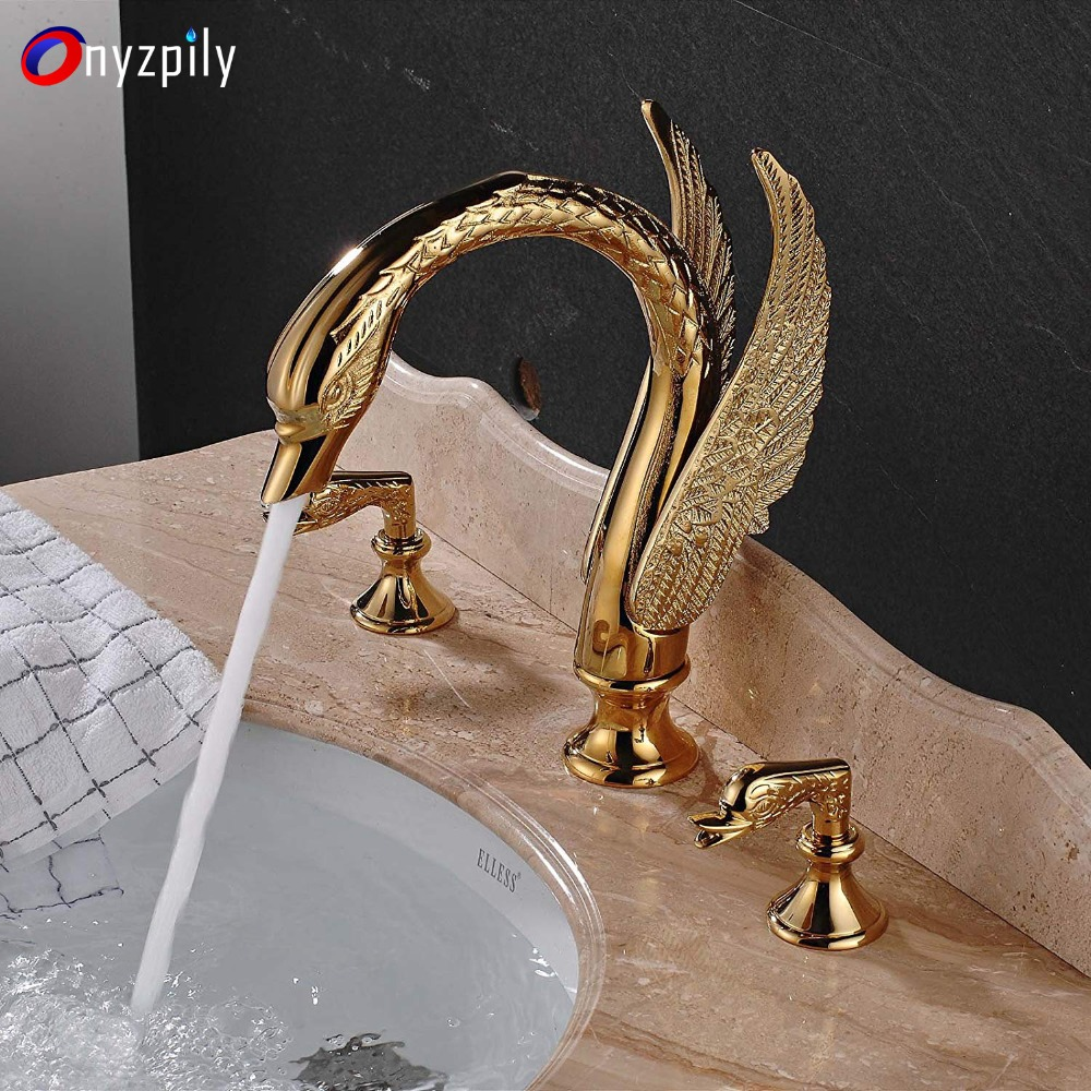 Golden Faucet Copper Single Hole Hot and Cold Antique Swan Shape Bathroom Wash Basin Mixing Valve Aperture 32MM to 40MM Can Be Installed CHENGYI