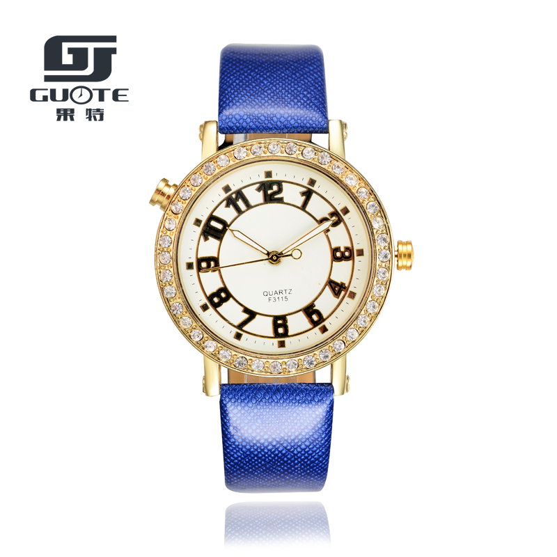 GUOTE New Simple Watches Women Diamond Leather Strap Casual Quartz Watch Women Dress Wrist Watches Relogios Feminino Reloj Mujer