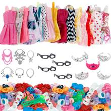 35/Set Doll Accessories =10 Pcs Doll Clothes Dress + 4 Glasses + 6 Plastic Necklace + 5 Crowns +10 Pairs Shoes for Barbie Doll(China)