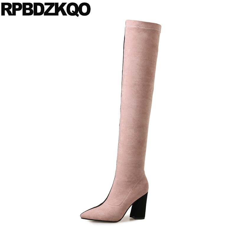 Long High Heel Suede Slim Thigh Women Boots Slip On Pointed Toe Autumn Shoes Sexy Over The Knee Chunky Quality Patchwork Stretch big size slip on navy blue high heel hidden fashion wedge fur long winter over the knee suede slim thigh women boots shoes 10
