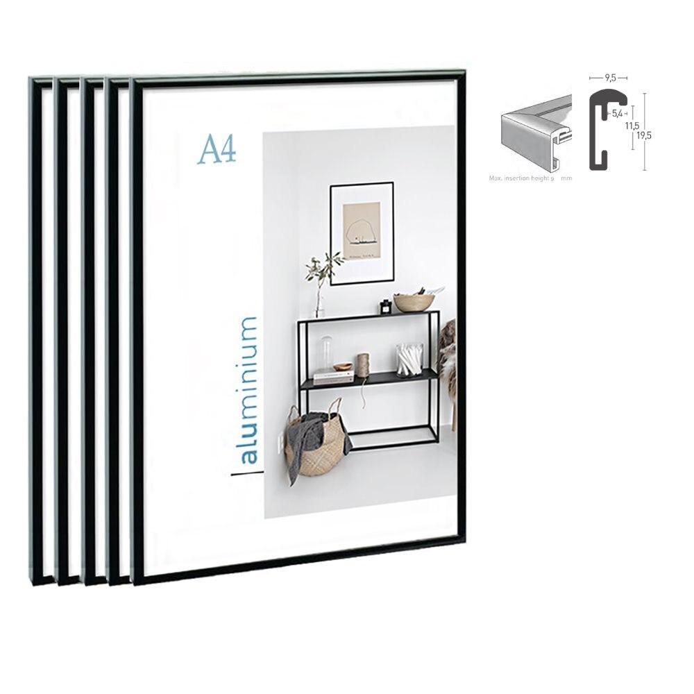 5 pièces pack classique super étroit en aluminium A4 cadre d'affichage pour tenture murale/cadre photo en métal cadre de certificat