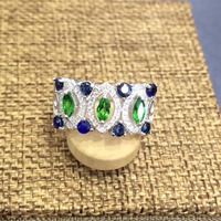 2017 anillos QI Xuan_Blue Камень Элегантный Ring_Fashion Ring_S925 чистого серебра синий камень Ring_Manufacturer непосредственно продаж