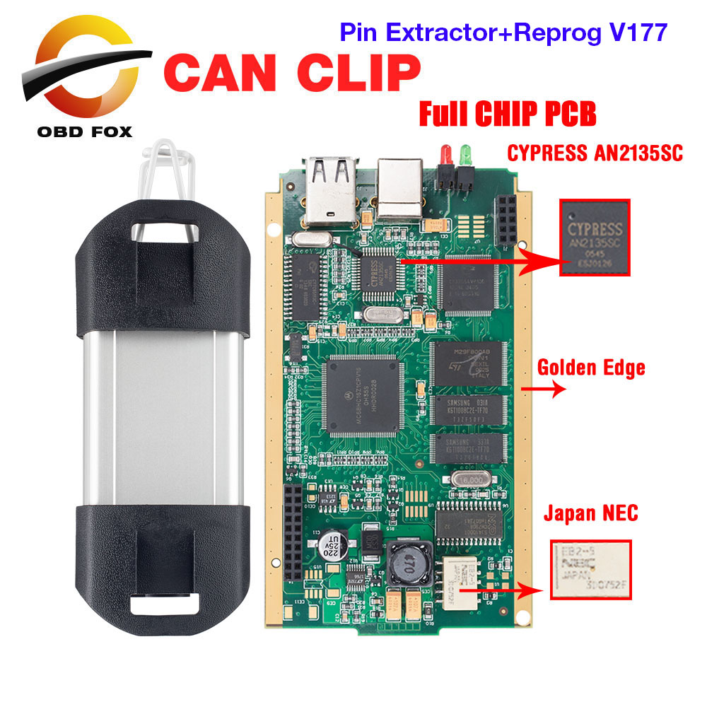 Can Clip V183 Gold Full Chip CYPRESS AN2135SC AN2131QC Car Diagnostic Tool to 1998 2019 For Renault Pin Extractor+Reprog V177-in Engine Analyzer from Automobiles & Motorcycles