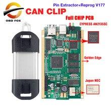 Can Clip V183 puce complète de Diagnostic de voiture, pour Renault, avec Pin extracteur + Reprog V177, or CYPRESS AN2135SC AN2131QC, version 1998 2019