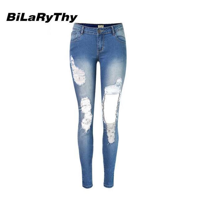 BiLaRyThy Nueva Moda Señoras de Las Mujeres Ripped Destroyed Denim Pantalones Elásticos Pantalones Lápiz Flaco Pantalones Vaqueros Casul
