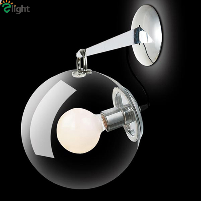Modern Simple Soap Ball E27 Led Wall Lights Lustre Chrome Metal Glass Bedroom Led Wall Lamp Foyer Led Lighting Light Fixtures modern lustre chrome metal led wall lights creative wifi model crystal bedroom led wall lamp corridor led lighting light fixture