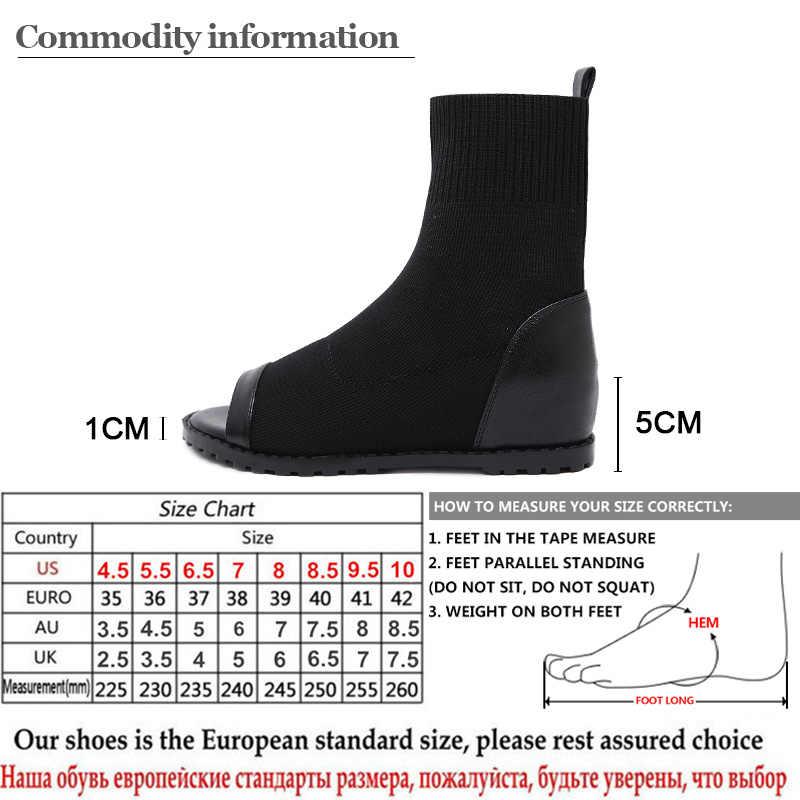 Gdgydh Yaz Çizmeler Kadınlar Için Streç Kumaş Yüksekliği Artan Peep Toe Ayakkabı Kadın Ayakkabı Takozlar Roma Tarzı yarım çizmeler