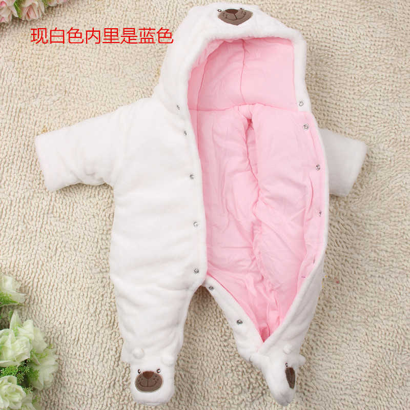 7b76c609bf5f ... Cute Autumn Winter Cotton Baby Romper Fleece Long Sleeve Coverall  Hooded Infant Jumpsuit Bear Down Snowsuit