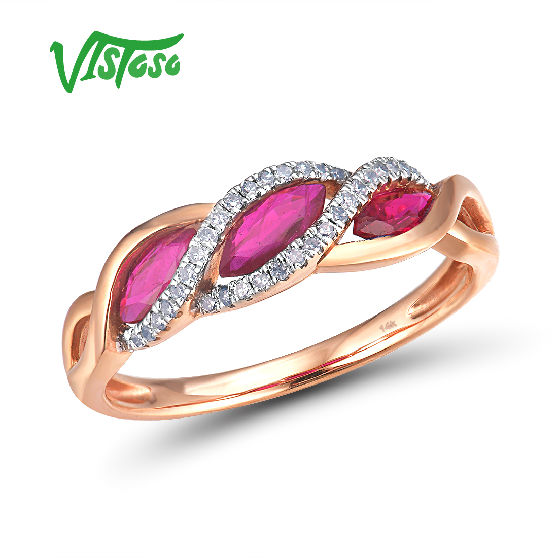 VISTOSO Genuine 14K585 Rose Gold Fancy Ruby Shiny Diamond Ring For Lady Wedding Engagement Anniverary Trendy Luxury Fine Jewelry