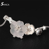 Real 100% 925 Sterling Silver Fine Jewelry Necklace Natural Crystal Handmade Plum Blossom Choker Necklaces For Women H014