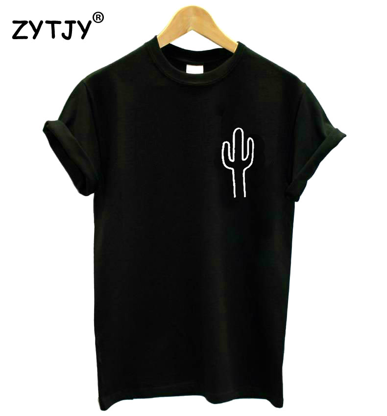 Cactus pocket Print Women tshirt Cotton Casual Funny t shirt For Lady Top Tee Hipster Drop Ship Z-758