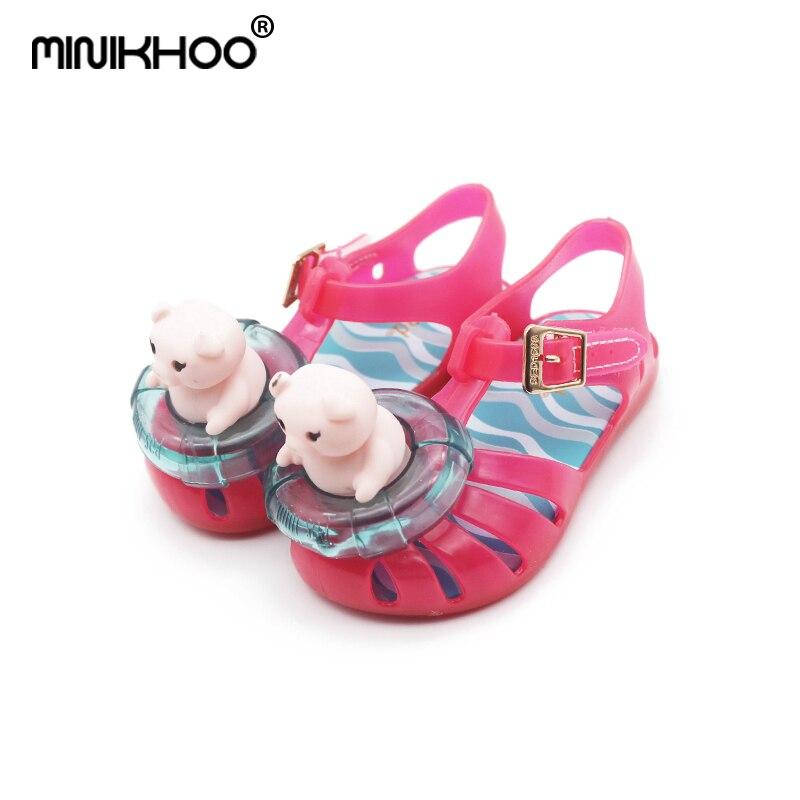 Mini Melissa ARANHA XI Jelly Sandals Pig Swim Ring Pattern 2018 New Girls Beach Sandals Melissa Jelly Shoes 12.8cm-17.8cm