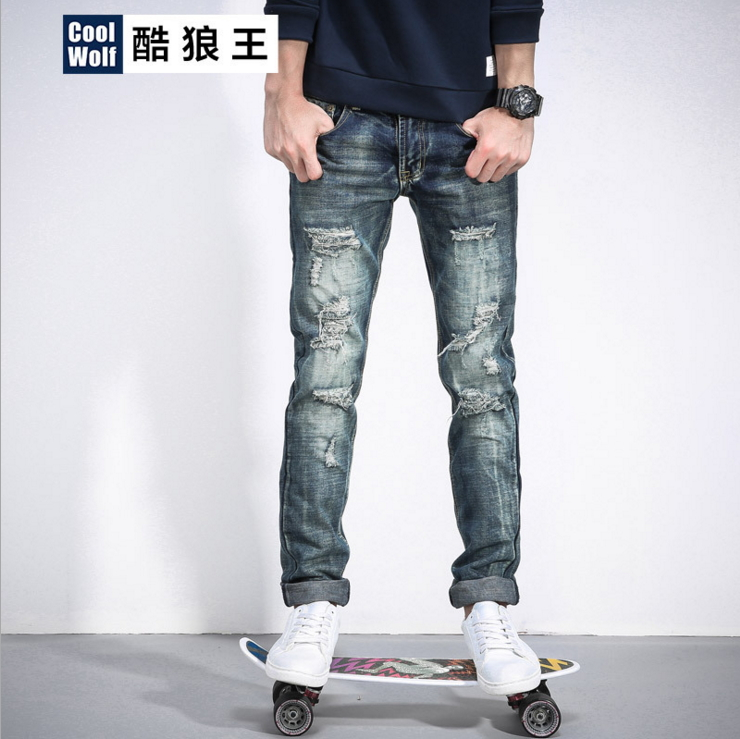 Men's casual holes Distressed ripped Jeans for Men TornDenim Pants Male New Fashion Garment Washed skinny biker punk Jeans J002