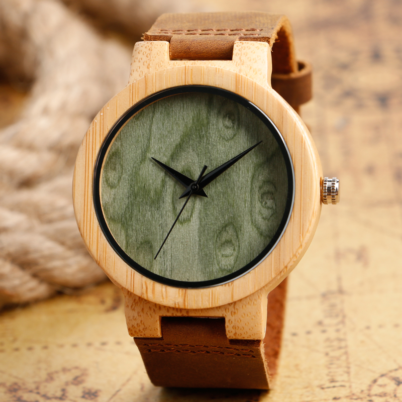 Fashion Green & Light Brown Dial Hand-made Nature Wood Watch with Genuine Leather Band Bamboo Wristwatches for Men Women fashion nature wood quartz wrist watch genuine leather band bamboo pattern strap men women analog green light grey gift