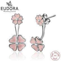 Женские серьги подвески с цветком вишни eudora из серебра 925