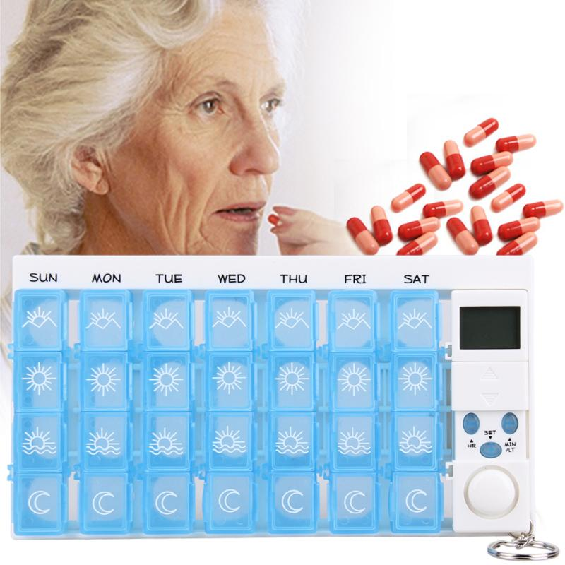 Portable Travel 7 Days Daily Electronic Medicine Case Medicine Storage Box Digital Pill Reminder Splitter Pill Case Timer Alarm