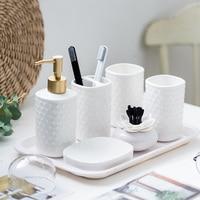 Embossed bathroom European ceramic wash bathroom accessories set wedding gift toothpaste dispenser for bathroom