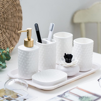 Embossed bathroom European ceramic wash bathroom accessories set wedding gift toothpaste dispenser for bathroom