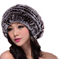 Women autumn winter natural rex rabbit fur oversized beanie with pompom,white brown hand knitted thicken warm fur  baggy cap H88