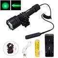 Светодиодный тактический фонарь XM-L зеленый охотничий фонарик + винтовочный прицел для крепления ружья + дистанционный переключатель давле...