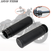 1 Rubber HandleBar Hand Grips For Harley Twin Cable Throttle Sportster 883 Dyna Tour Glide Softail Delux Street Bob Super Wide
