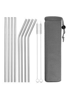 Drinking-Straws Bent Metal Sturdy Straight Reusable 304-Stainless-Steel 4/8pcs