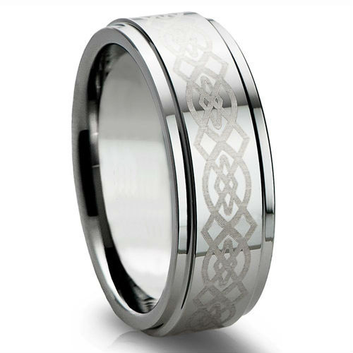 Tailor Made 8mm Shiny Finish Tungsten Carbide Ring Irish Knot Wedding Band Size 4 - 18 (#NR08PC)