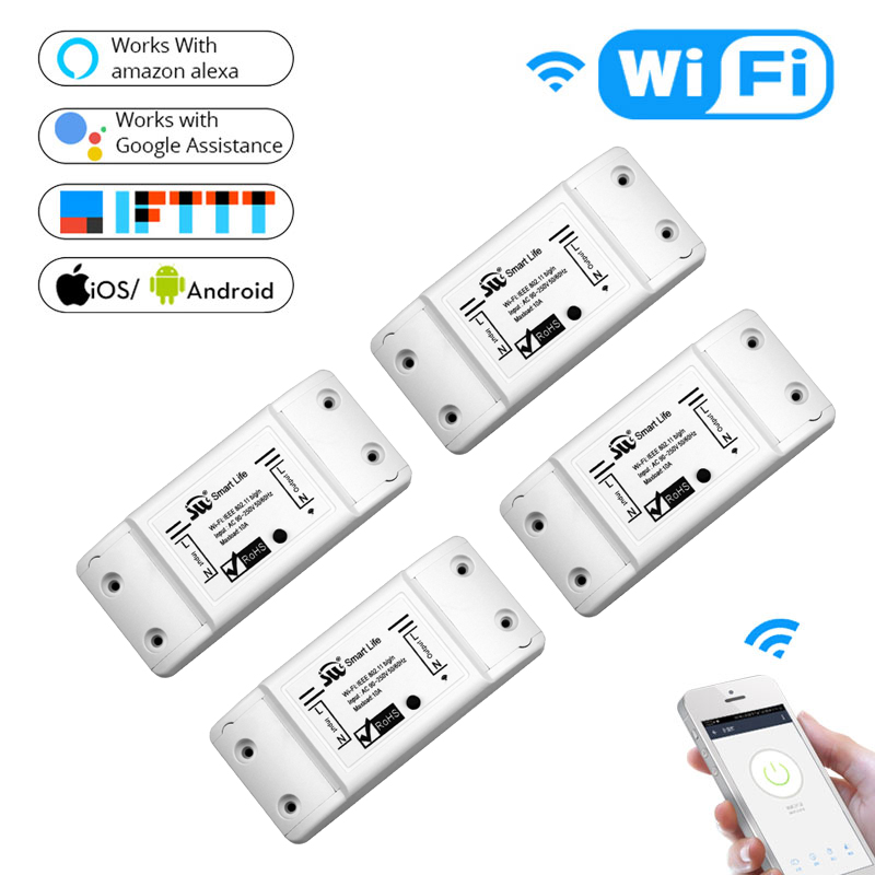 DIY WiFi Smart Light Switch Universal Breaker Timer Wireless Remote Control Works with Alexa Google Home Smart Home 4 Pieces цена