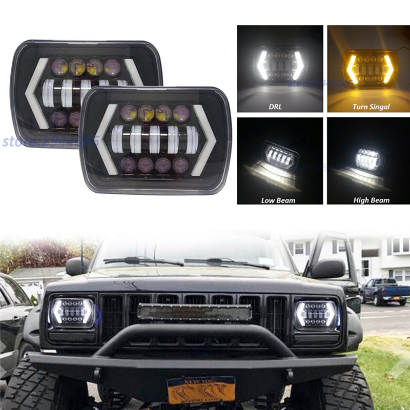 1 Pair 5x7 7x6 Inch Angel Eyes DRL H4 LED Square Headlights For Jeep Wrangler YJ