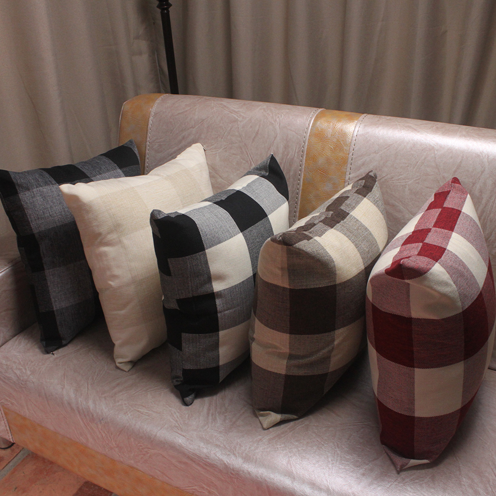 Plain Linen Throw Pillow Covers : Simple Classic Plaid Pillow Cover for Sofa / Durable Tough Linen Plain Decorative Cushion Covers ...
