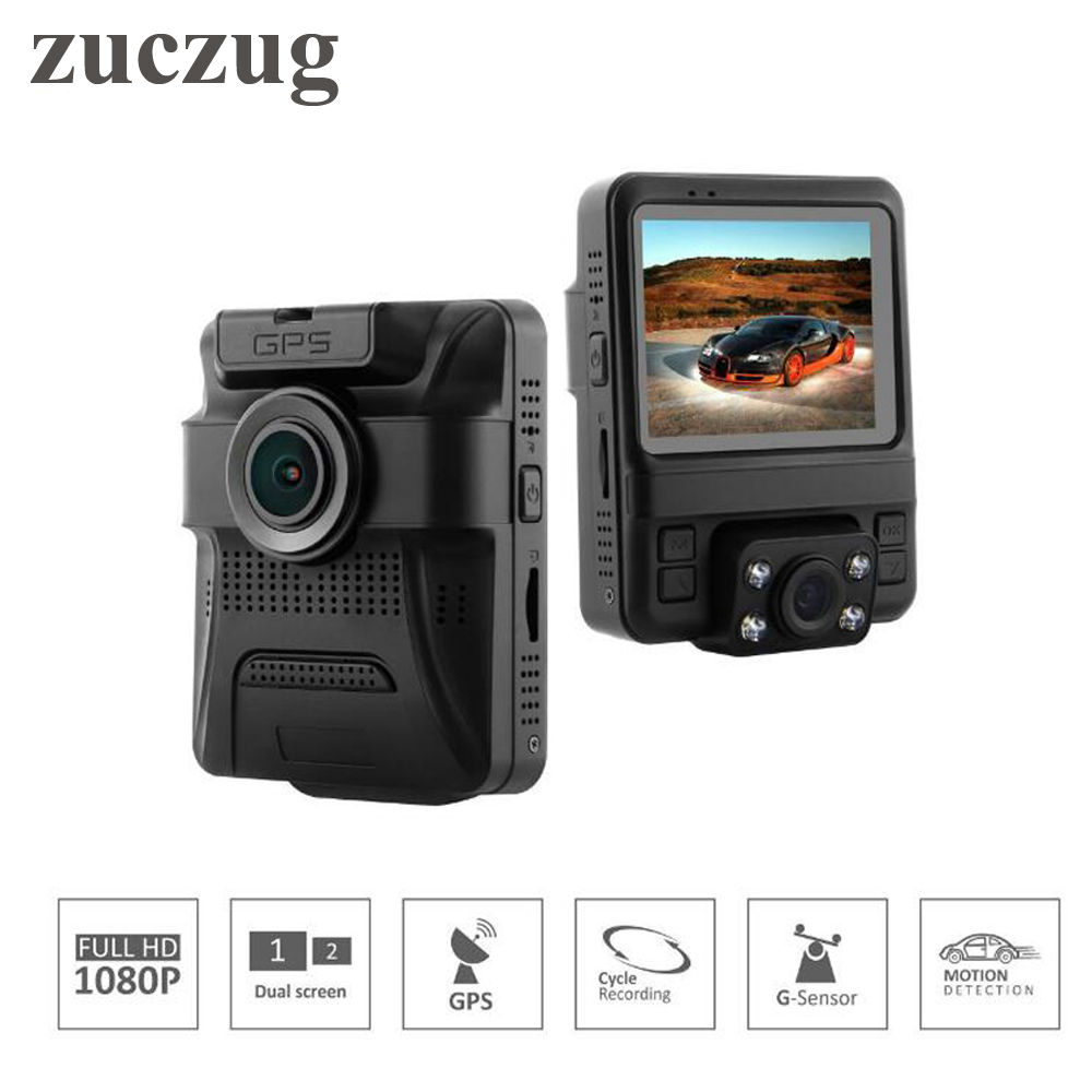 ZUCZUG Mini Dual Lens Car DVR 2.4 Novatek 96655 Car Camera 1920x1080P Full HD Dash Cam G-sensor Built-in GPS Car DVR camera