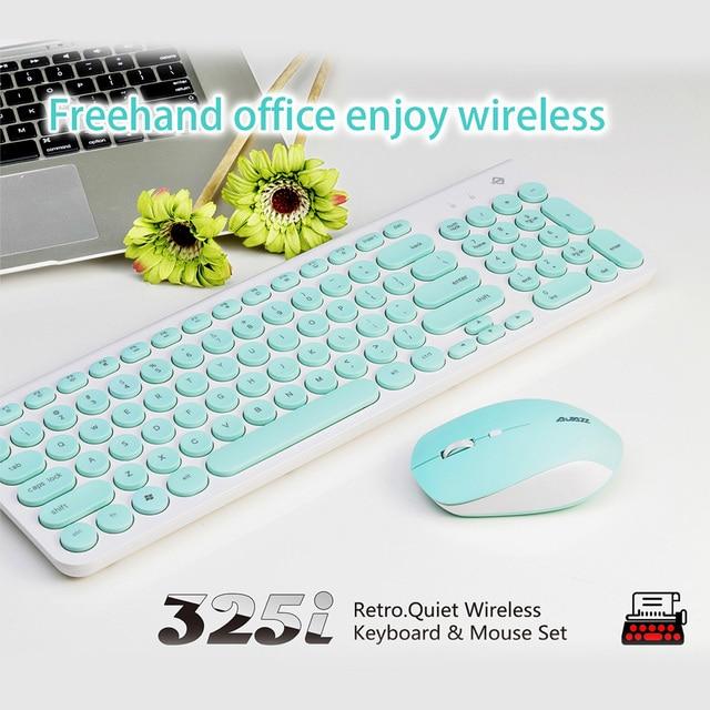 466cf0b9b42 Ajazz 325i Retro Quiet Wireless Keyboard & Mouse Set for Windows XP 7 8 10  Mac