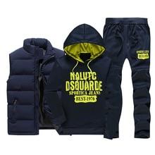 3шт с капюшоном комплект мужские спортивные костюмы человек зима сгущает теплый спортивный костюм 3