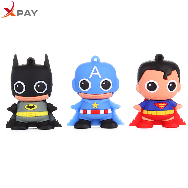 USB 2.0 Cartoon Captain America Usb Flash Drive 32GB 16GB Pen Drive 4GB 8GB 64GB Pendrive 128GB Silicone Storage for gift U Disk-in USB Flash Drives from Computer & Office