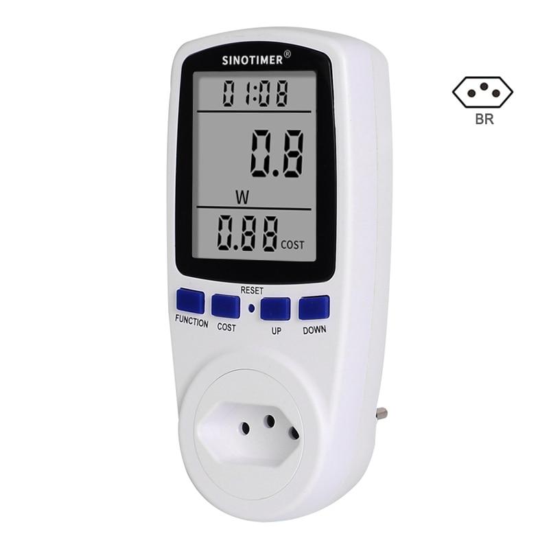 Brazil BR Plug Socket Power Meter Energy Saving Meter Wattmeter Digital Power Consumption Watts Digital AC 220V 110V Electricity