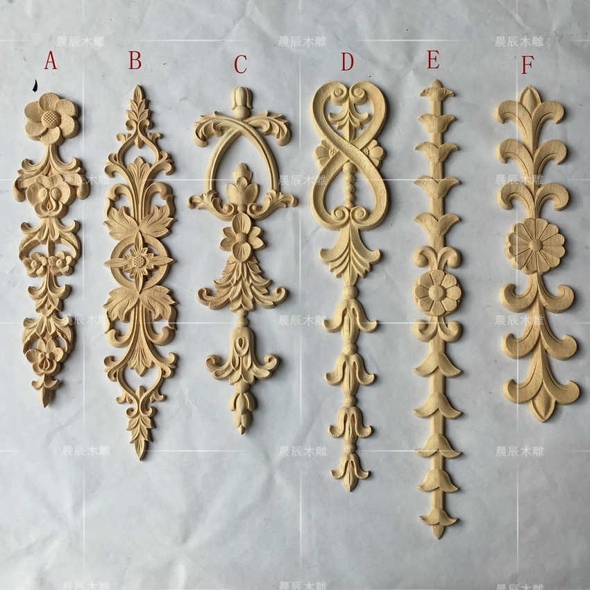 2pcs/lot, European Long Wooden Carving Door Flower, Furniture Door Decals, Home Improvement(A741)