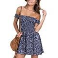 2016 Женщины Платья маленький цветочный принт плиссированные Без Бретелек Vintage Случайный Сексуальный Высокой Талией Лето mini dress vestidos