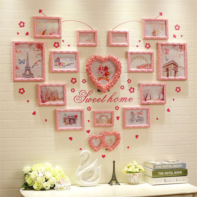 Collage Heart Shape Picture Frame Set White Pink Photo Frame Set